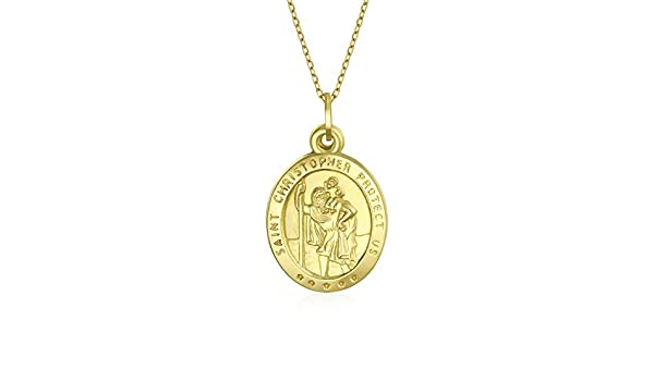 Solid 14k Yellow Gold Miraculous Medal Charm Pendant 14mm x 7mm