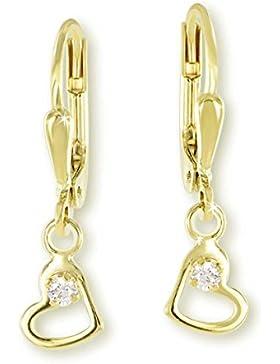 VASCAYA Damen Ohrhänger Ohrring Herz mit weißem Zirkonia Gold 333 Geschenk