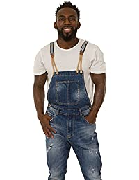 bacfb1dc YT-Jeans Mens Distressed Denim Dungarees Detachable Striped Elasticated  Straps Drop Bib Jack