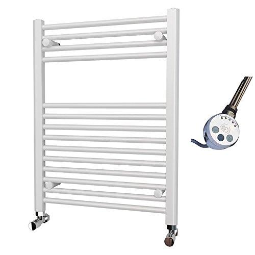 Elettrico Bianco Dritto Porta asciugamani riscaldato elemento termostatico, 800mm x 600mm