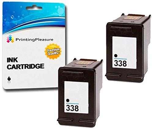 Printing Pleasure 2 Tintenpatronen kompatibel zu HP 338 für DeskJet 460 460c 460cb 6620 6840 9800 9860 Photosmart 2575 Pro B8330 Officejet 100 Mobile 6210 6215 7210 7310 - Schwarz, hohe Kapazität -