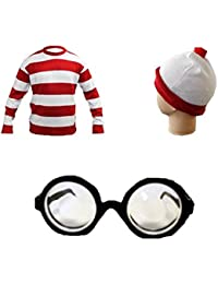 Children's Red & White Striped T-Shirt Short Sleeve, Hat Glasses Set Fancy Dress Accessory (9-10 Years)