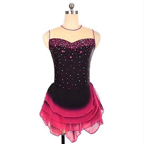 Heart&M Eiskunstlauf Kleid Frauen Mädchen Eislaufen Rock Hohe Elastizität Leistung Handgemachte Strass Skating Wear Sleeveless Farbverlauf , xxs (Jeweled Kleid Chiffon)