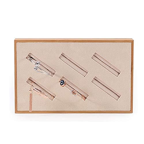 AndyJerzy Vintage Schmuckschatulle Bamboo Velvet Armreif Display Tray Counter Schmuckschatulle (Design : Small, Größe : Bamboo)