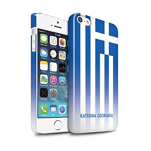 eSwish Personalisiert Individuell National Nation Flagge 3 Glanz Hülle für Apple iPhone 5/5S / Griechenland/Griechisch Design/Initiale/Name/Text Snap-On Schutzhülle/Case/Etui