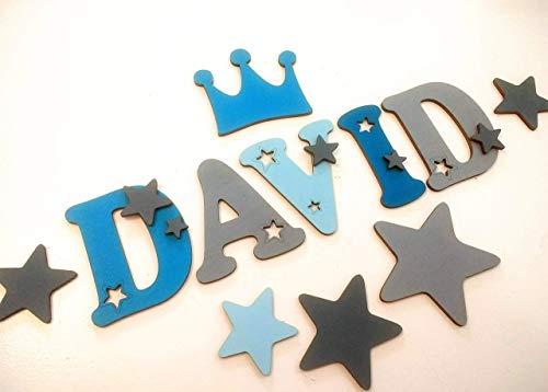 10cm Holzbuchstaben in tollen Farbkombinationen für die Kinderzimmertür. Perfektes Geburtsgeschenk oder Taufgeschenk. Inkl. Klebepads