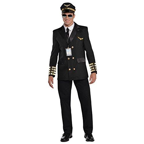 Uniform Kapitän Kostüm - Erwachsene Christys Verkleidung Piloten Kapitän Wingman Fluglinie Herren Uniform Kostüm - Gold, L (48/50)