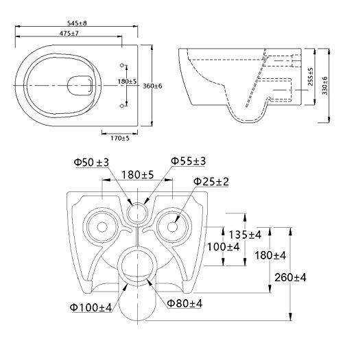 NEG Hänge-WC Uno11 (Tiefspüler) Toilette mit geschlossenem Unterspülrand, Duroplast Soft-Close-Deckel und Nano-Beschichtung - 8
