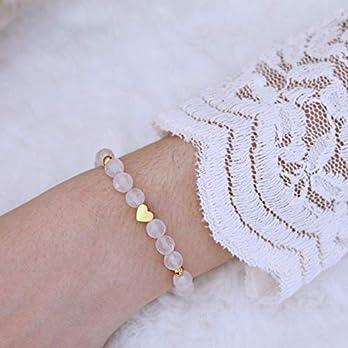 Damen-Armband aus echtem Rosenquarz, mit Herz, elastisch, Liebes-Geschenk für Frauen und Mädchen