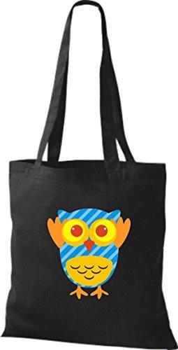ShirtInStyle Jute Stoffbeutel Bunte Eule niedliche Tragetasche mit Punkte Karos streifen Owl Retro diverse Farbe, rosa schwarz