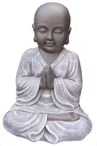 Steinfigur Buddha, Gartenfigur Steinguss Basaltgrau