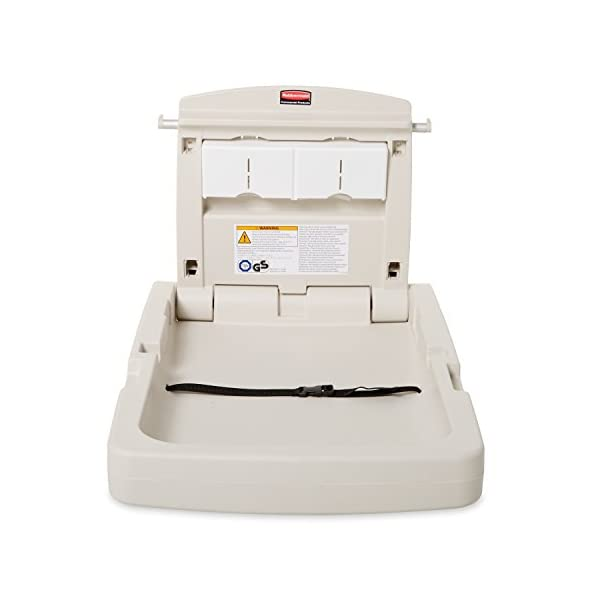 Rubbermaid Commercial Baby Changing Station - Platinum Rubbermaid Commercial Products Antimicrobial protection Two models: Vertical or horizontal Large, deep bed with adjustable safety belt 2