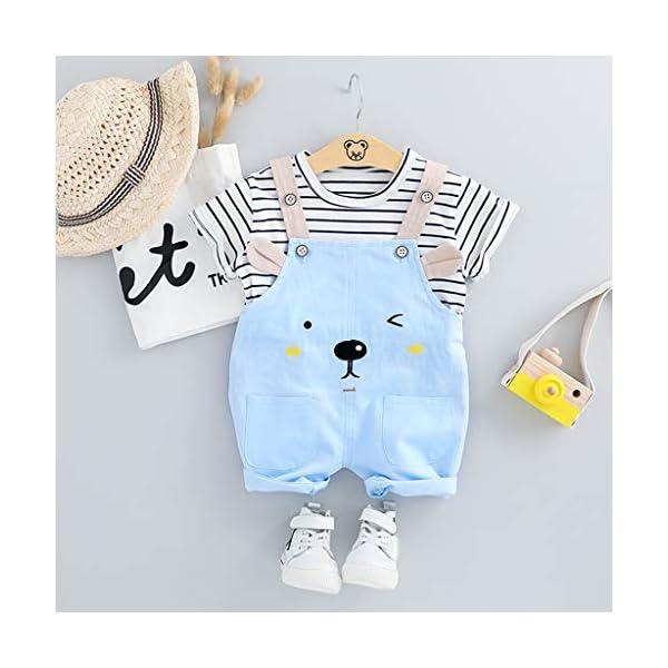 Trisee Niños Trajes Raya Corta Tops y Lindo Oso de Dibujos Animados Imprimir Pantalones Babero 2pcs Set Unisex BabySuits… 4