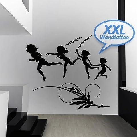 Your Design XXL–Adhesivo Pared Niños reigen, negro, 145 x 135 cm