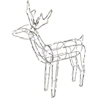 WeRChristmas Pre-Lit 3D Twinkling Reindeer Christmas Decoration with 90-LED, 78 cm - Large, White