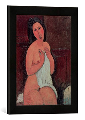 Gerahmtes Bild von Amedeo Modigliani Seated Nude with a Shirt, 1917