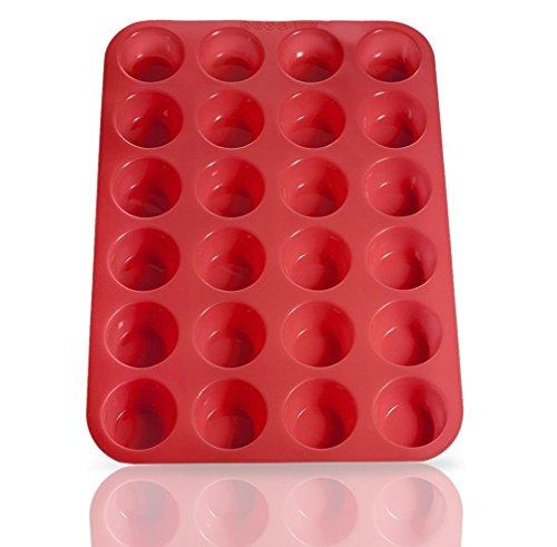 HelpCuisine® Muffinförmchen aus Silikon, antihaftbeschichtet, Cupcakes(24 in Rot)