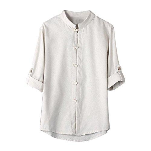 Sumtter maglietta top t shirt tees camicia della camicia camicie camicetta blouse blusa maschi estive manica corta uomini classico stile cinese kung fu tuta tang lino 3/4 maniche (m, bianca)