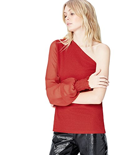 FIND One Sleeve - T-Shirt À Manches Longues - Femme Rouge (Red)