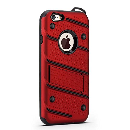 Ultra Thin Slim Dual Layer PC + Soft TPU Back Schutzhülle Fall [Shockproof] mit Kickstand für iPhone 6 / 6s ( Color : Gold ) Red