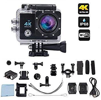 Hamtone 4K Ultra HD 16 MP WiFi Waterproof Action Camera (Black)