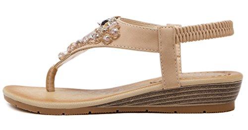 Fortuning's JDS Frauen Niedliche Strass Eule Dekoration Flache Schuhe Wedges Thong Sandalen Aprikose