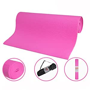 Maxstrength Fitness Exercise Gym Aerobics Roll Up Yoga Mat with Carry Case Black - Pink, 24 x 64 Inch