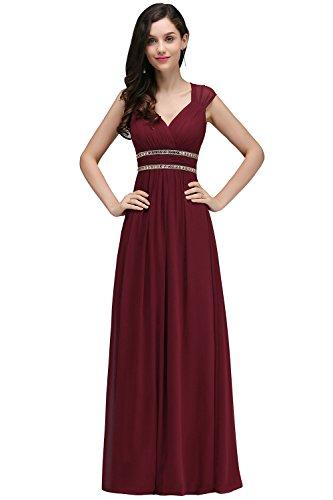Damen Elegant V-Ausschnitt Chiffon Abendkleid Ballkleid mit Pailetten Maxilang Weinrot 32