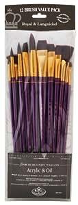 Royal and Langnickel RSET-9314 Long Handle Taklon Variety Brush Set - Firm Burgundy (Pack of 12)