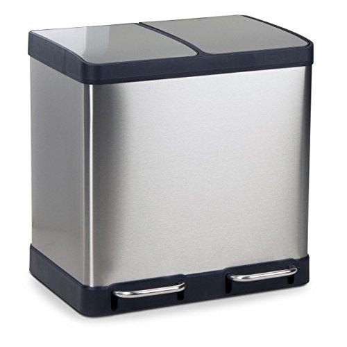 Mülleimer Abfalleimer OSLO aus Edelstahl Mülltrennsystem für die Küche, Maße: 49x39x49 cm (L/B/H), Volumen: ca. 40 Liter (Mülleimer Für Die Küche)