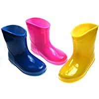 Soft Touch Baby Infant Toddler Rain Boots - Blue, Pink Yellow in Sizes Available in Shoe Sizes 19-21 (Age Range from 15-24 Months)