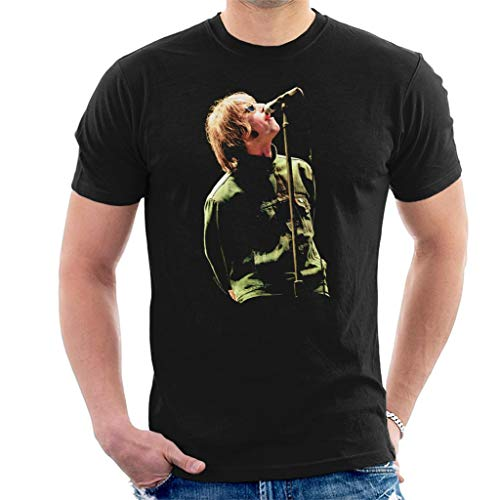 Liam Gallagher with Oasis at Balloch Castle 1996 Men's T-Shirt, Black or Chocolate, S to XXL