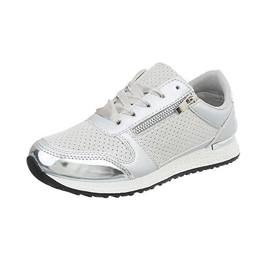 Ital-Design Sneakers Low Damen-Schuhe Schnürsenkel Freizeitschuhe Silber Grau, Gr 39, D-58-