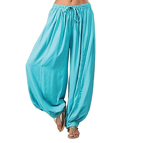WOZOW Summer Haremshose Trousers for Women Übergröße Plus Size Solid Bettwäsche Baumwolle Kordelzug Zug Bloomers Lose Loose Aladdin Indian Lang Long Ankle Knickers (2XL,Himmelblau)