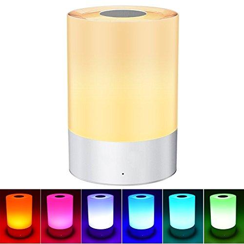 Goldfox® RGB LED Atmosphäre Nachttisch Lampe Touch-Funktion Tischlampe mit 7 Farbwechsel und 3 Helligkeitsstufen Stimmungslicht mit Warmweiße Lichtfarbe Dimmbare Nachttischlampe Aufladbare für Schlafzimmer Kinder Party Camping