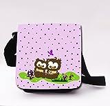 Schultertasche Handtasche Tasche mit Eulen Eulchen flieder lila Mädchentasche Umhängetasche