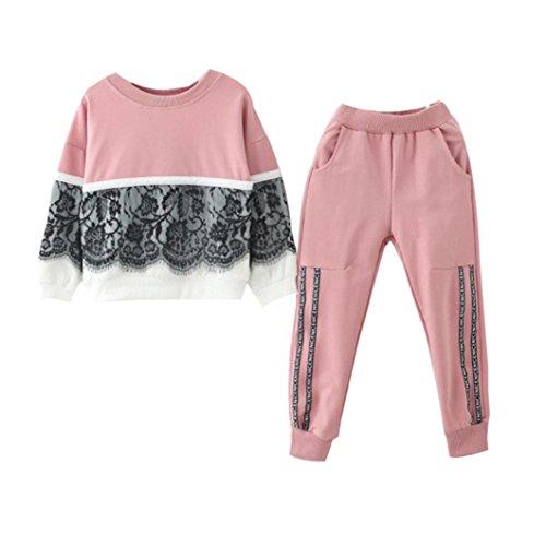 Kobay Kinder Baby Mädchen Spitze Pullover Sweatshirt Tops + Hosen Outfits Kleidung Set
