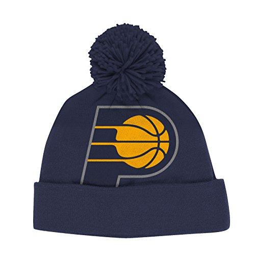 adidas Indiana Pacers NBA Jacquard Logo Pom Cuffed Knit Hat Hut (Indiana Basketball Bekleidung)