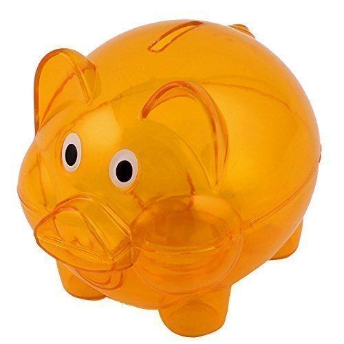 Preisvergleich Produktbild sourcingmap® Kunststoff Sparschwein Coin Geld Geld Saver Einsparungen Schließfach Deaktivieren Sie Orange