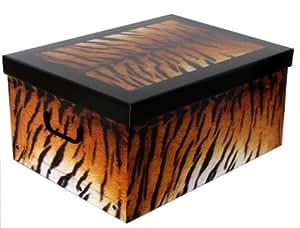 Große Aufbewahrungs Box mit Deckel mit Tiger-Muster Kiste