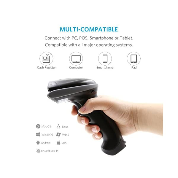 TEEMI 2D QR Wireless Bluetooth Barcode Scanner with USB