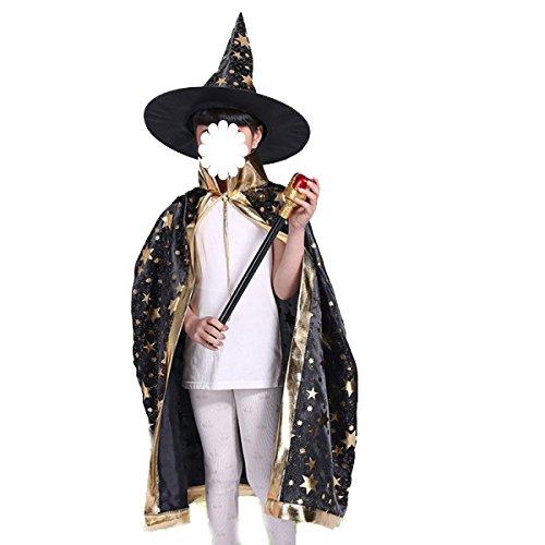 tüme Mantel Kinder Mantel Zauberer Kostüm-Party Party Bühnen-Performance Kleidung,Black-75CM (High-end-kostüme Halloween)