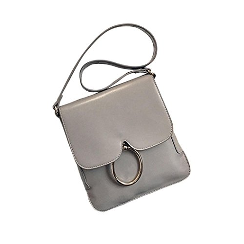 Transer Women Shoulder Bag Popular Girls Hand Bag Ladies PU Leather Handbag, Borsa a spalla donna Brown 25cm(L)*27(H)*3cm(W) Grey
