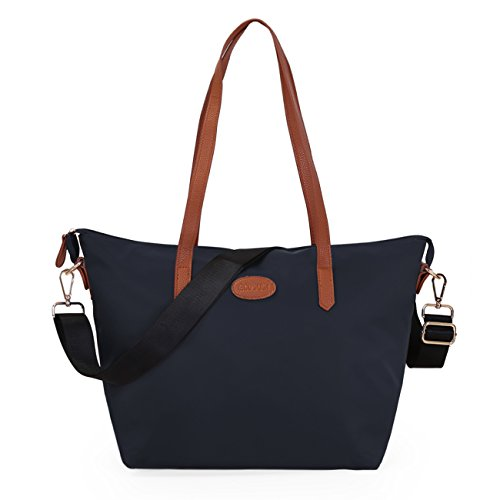 ECOSUSI Shopper Nylon Tote Handtasche Schulter Tasche Langer Griff 29 x 18 x 28cm Blau (Tasche Tote Nylon-zwei)