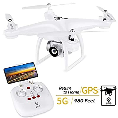 JJRC JJPRO GPS Drone, H68G RC Drone with 720P HD Camera Live Video 120° Wide-Angle 5G WiFi FPV Quadcopter with 980ft Control Distances, Follow Me, Smart Return Home Headless Mode 3D Flips RTF(white)