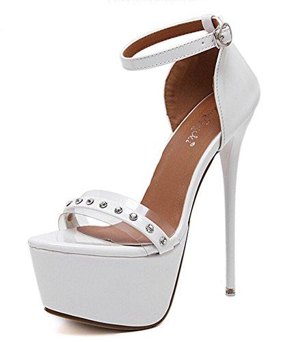 Aisun Femme Mode Plateforme Talon Aiguille Haut Sandales Blanc