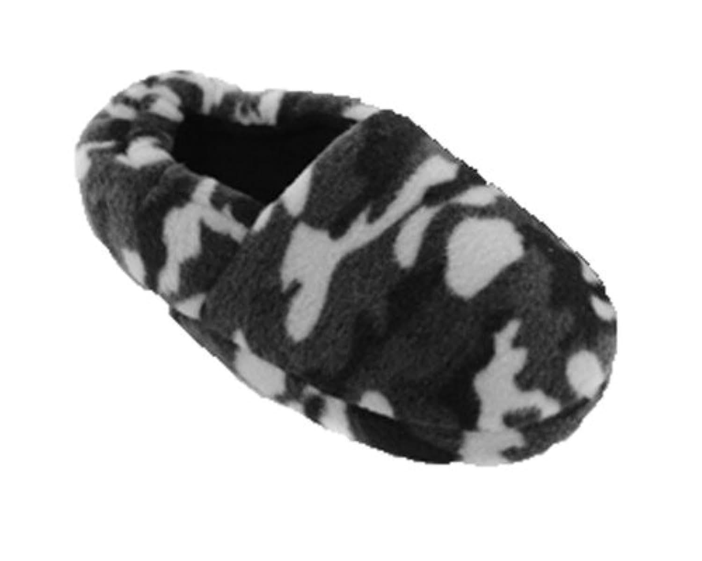 Boys SlumberzzZ Camo Print Slipper With Elasticated Heel FT0568 Grey 11-12 (M)