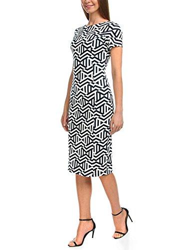 oodji Ultra Damen Jerseykleid mit Grafischem Druck Blau (7912G)