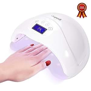 LED UV Lampe für Nägel, 48W LED-Nageltrockner mit UV Nagellampe für Shellac und Gelnagellack Lichthärtegerät mit Zeitmesser Sensor - Weiß | von Joywell (Typ1-48W)