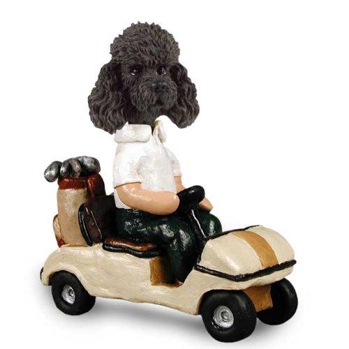 Pudel schwarz w Sport Cut Golf Cart Doogie Collectable Figurine
